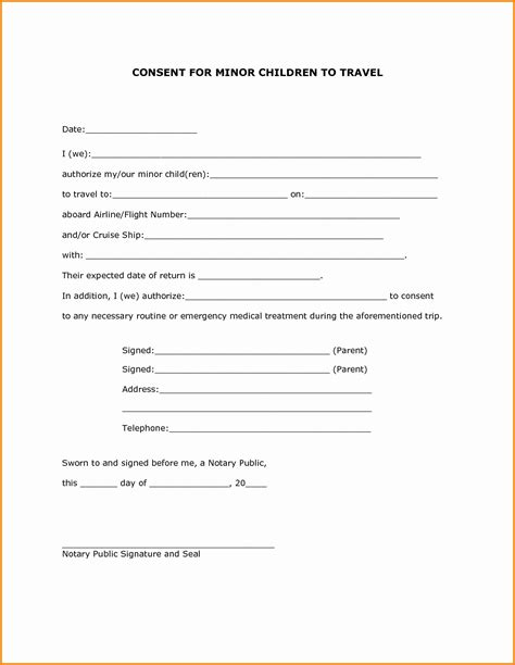 parental consent form template letter of consent for travel of a minor child template