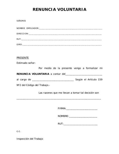 Carta De Renuncia Ejemplo Ecuador 01 renuncia voluntaria