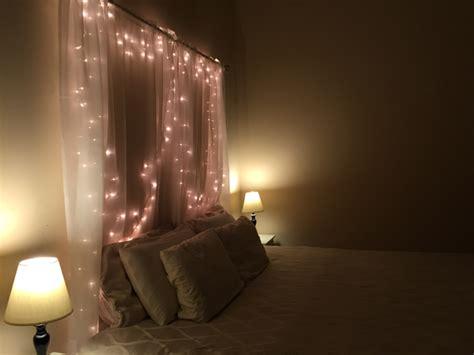 diy headboard with lights 15 diy curtain headboard with christmas lights home
