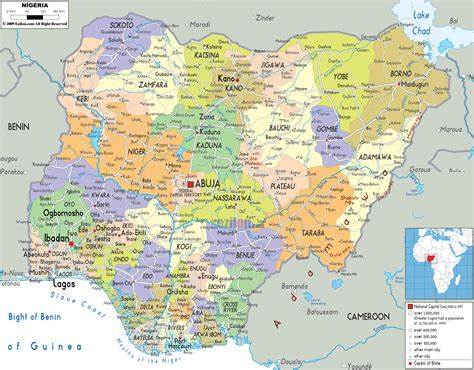 Nigérie Detailed Political Map Of Nigeria Ezilon Maps