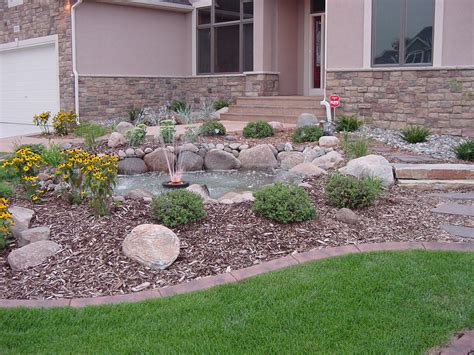 Front Garden Landscape Ideas Simple Diy Front Yard Landscaping House Design With In The Middle Ponds With Rocks And