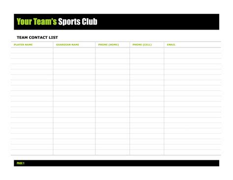 team contact list template pin team contact list template doc on