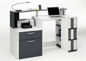 bureau 1 porte 1 tiroir oracle blanc gris graphite