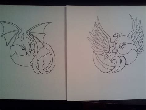 tattoo angel and devil designs angel and devil bird tattoo design by samanthalyn1 on