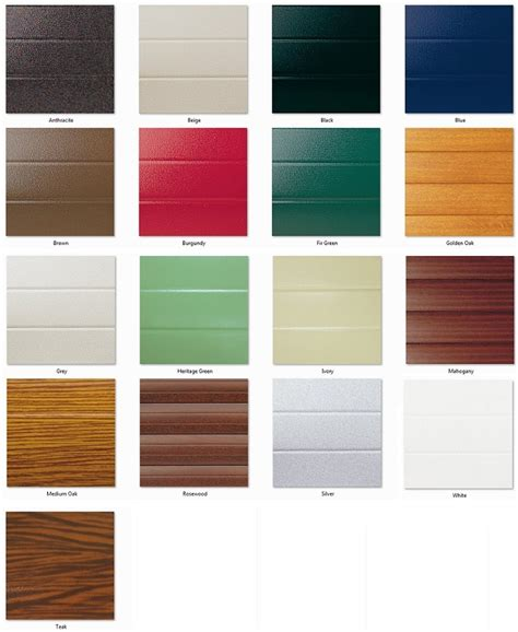 seceuroglide colour chart roller garage door sale