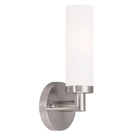 Brushed Nickel Sconce Lighting Livex Lighting Aero 1 Light Brushed Nickel Sconce 10103 91