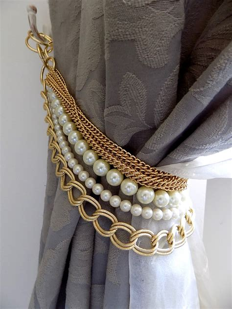 curtain tie back holder beaded decorative curtain holder tie back with golden chain
