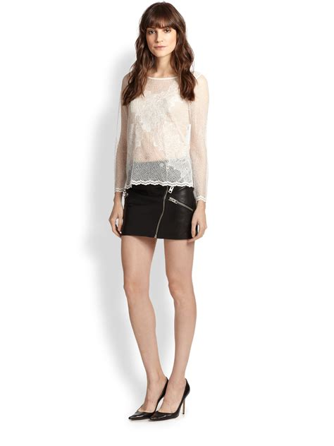 Mini Skirt the kooples leather zip mini skirt in black lyst