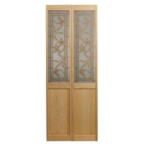 Wood Bifold Doors Interior Pinecroft 32 In X 80 In Glass Panel Universal Reversible Tuscany Wood Interior Bi Fold