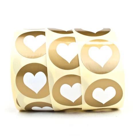 Sticker Drucken Hochzeit by Runde Aufkleber Herzen Gold Sticker Etiketten Zur