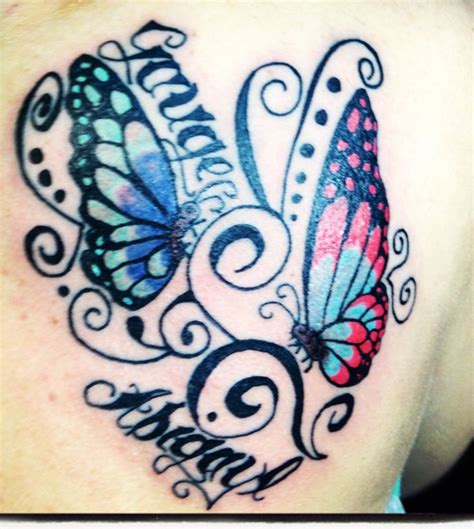 butterfly tattoo designs with names butterfly with children s names ideas