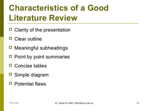 literature characteristics literature review dr faisal al allaf