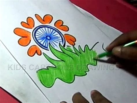drawing themes for independence day how to draw independence day flower greeting step by step