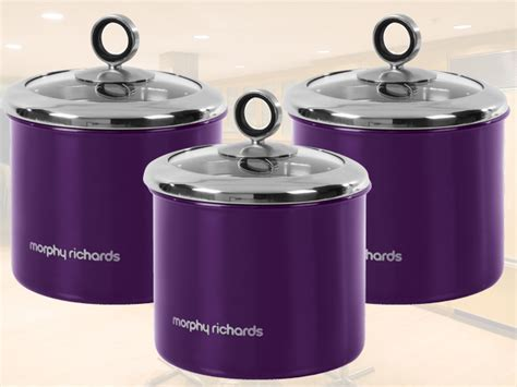 purple canisters for the kitchen new morphy richards 3pc tea coffee sugar storage canisters