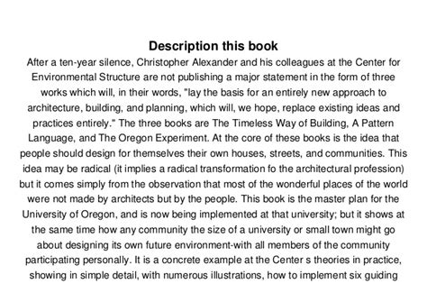 a pattern language christopher alexander ebook free download read the oregon experiment center for environmental