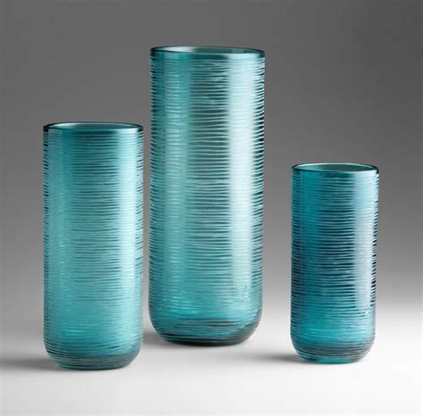 medium aqua glass vase by cyan design