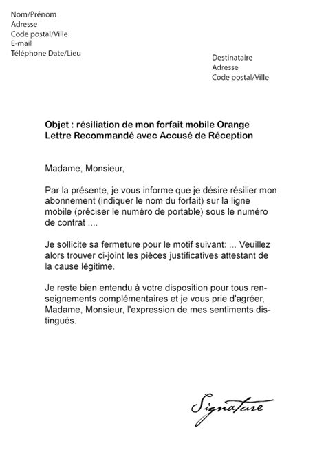 Lettre De Resiliation Orange Et Mobile Lettre De R 233 Siliation Orange Mobile Mod 232 Le De Lettre