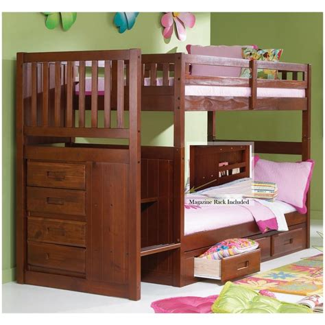 sams bunk beds staircase bunk bed merlot finish