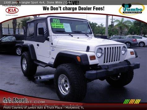 1998 jeep white white 1998 jeep wrangler sport 4x4 gray interior