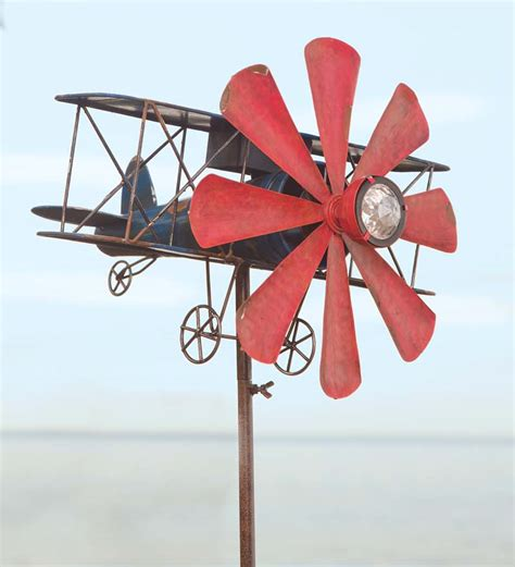 bicycle wind spinner with solar light biplane solar wind spinner wind spinners wind weather