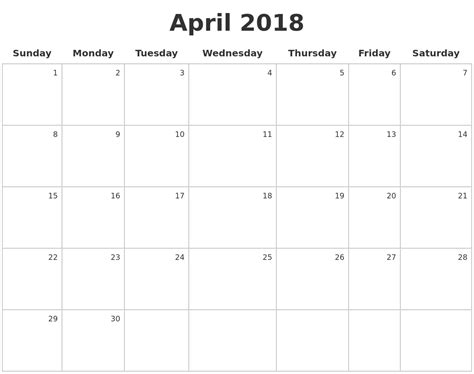 how to make calendar 2018 april 2018 make a calendar