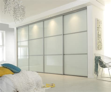 White Glass Sliding Wardrobe Doors Linear Sliding Glass Door Wardrobe