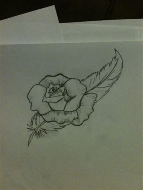 feather and rose tattoo feather and design by angelfeather4 on