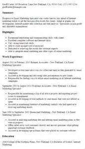 Email Marketing Specialist Sle Resume professional email marketing specialist templates to showcase your talent myperfectresume