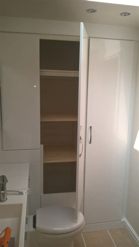 Additional Bathroom Storage In The High Gloss White High Gloss Bathroom Storage