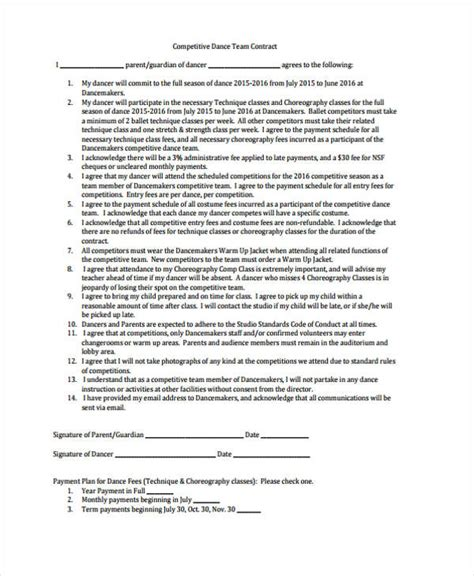 dance contract template 42 sle contract templates free premium templates