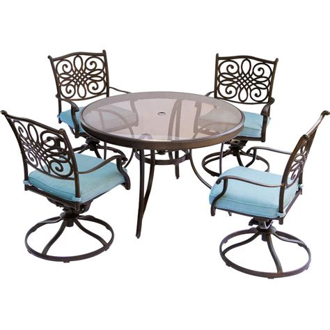Blue Dining Table And Chairs Hanover Traditions 5 Aluminum Outdoor Dining Set With Glass Top Table And Swivel
