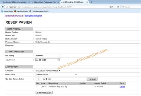 Software Antrian Puskesmas sistem informasi rekam medis pasien di puskesmas berbasis web dengan php mysql dan dreamweaver