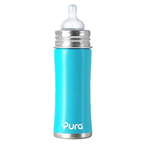 Pura Stainless Steel Infant Bottle 11oz325ml With Xl Sipper Mura pura stainless steel 11oz baby bottle aqua the