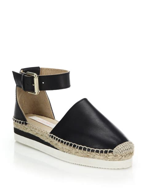 see by sandals see by chlo 233 glyn leather espadrille sandals in black lyst