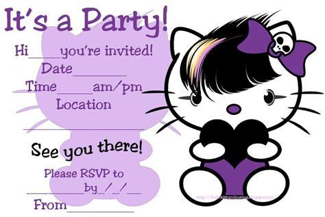 goth emo punk style  kitty invites birthday ideas