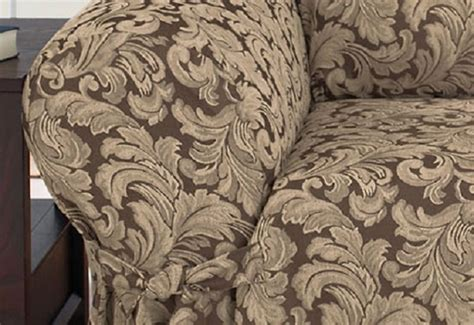 chocolate brown sofa slipcover dual reclining sofa slipcover damask chocolate brown sure