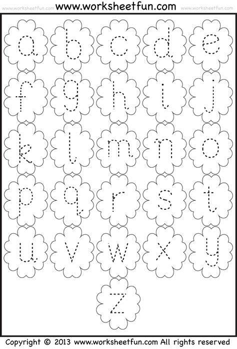 tracing small alphabets worksheets small letter tracing lowercase worksheet flower free printable worksheets worksheetfun