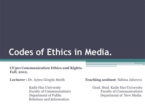 Ethics In Media Communications codes of ethics in media