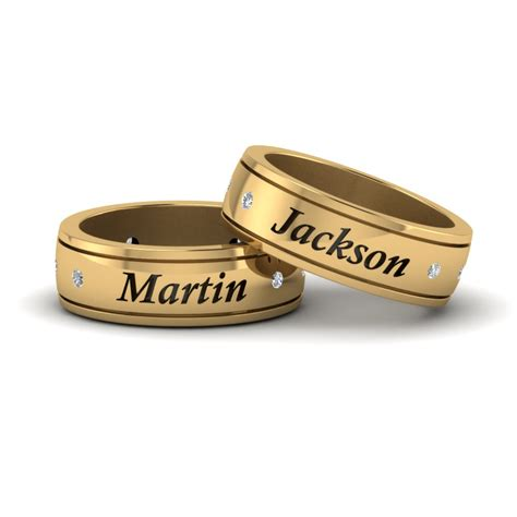 Personalized Gay Wedding Band With Diamonds In 14K Yellow