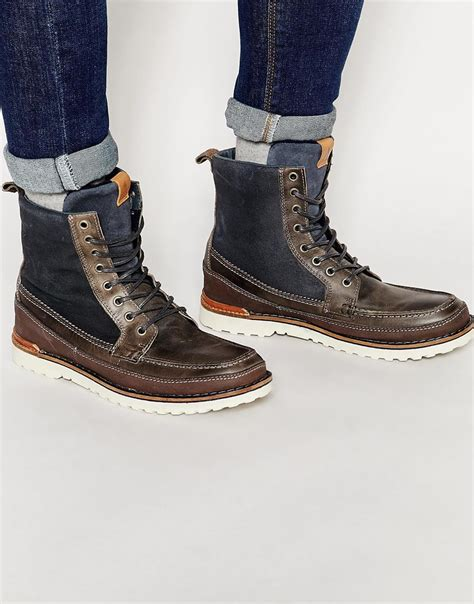 aldos boots for aldo olaudda leather boots in gray for lyst
