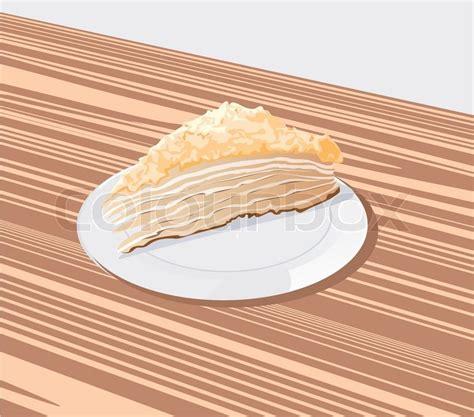 stück kuchen st 252 ck kuchen auf einem wei 223 en teller vektorgrafik