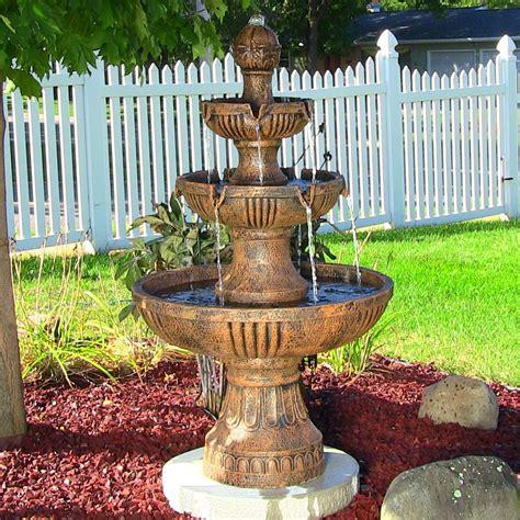 sunnydaze 3 tier flower blossom water fountain eonshoppee