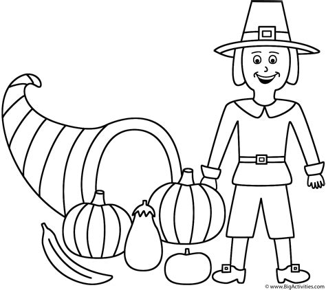 horn of plenty with pilgrim coloring page autumn fall