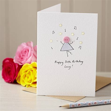 Personalised Handmade Birthday Cards - personalised button handmade birthday card by