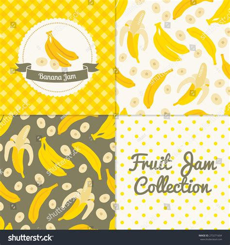 Seamless Patterns With Gingham Polka Dot Iphone Semua Hp banana jam collection paper label stock vector 273271604