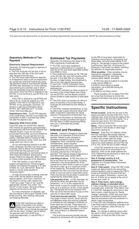 section 481 adjustment instructions for form 1120 fsc u s income tax return of