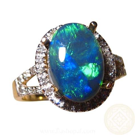 Black Opal Neon neon green black opal and 14k gold ring flashopal