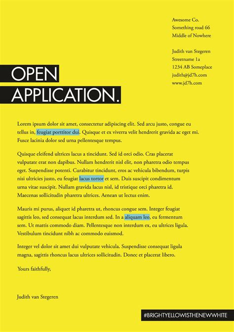 Open Application Letter Email Home Judith Stegeren Illustration Design