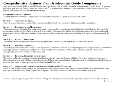 comprehensive business plan template comprehensive business plan development guide johns