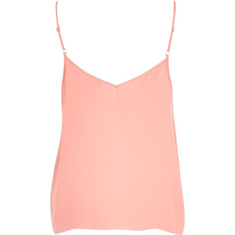 light pink top women s river island light pink strappy cami top in pink lyst